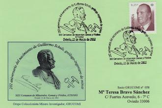 Photo: Matasellos de Grucomi del XIII Certamen de Minerales, Gemas y Fósiles en la Escuela de Minas de Oviedo, en homenaje a los 202 años del aniversario del nacimiento de Guillermo Schulz