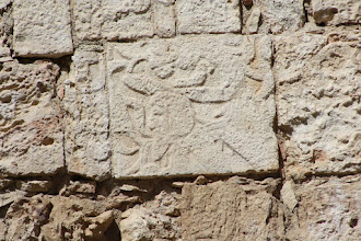 Photo: Bearded man carving at Chichen Itza