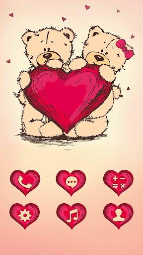 泰迪熊愛情主題(玫瑰色調-暖心愛情-情人節快樂)三星索尼手機