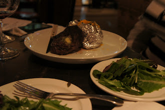 Photo: Salad and steak and potatoes - perfect with a deep rich Carbernet.