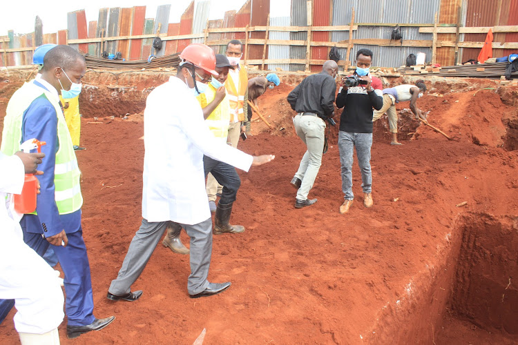 Governor Mwangi wa Iria during the launch of the construction of a cancer centre at Murang'a Level V Hospital on Thursday, June 2, 2020