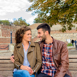 by Vera Arsic - People Couples ( young women, romance, two people, handsome, couple - relationship, smiling, friendship, heterosexual couple, city life, city, 20-29 years, boyfriend, togetherness, young adult, casual clothing, affectionate, modern, romantic, happiness, model )