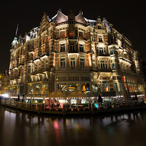 Hotel de l'Europe by Bim Bom - Buildings & Architecture Office Buildings & Hotels ( amsterdam hotel luxury amstel river night wide angle, night, lights, , city, city at night, street at night, park at night, nightlife, night life, nighttime in the city )