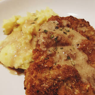 Country Fried Steak with Cream Pan Gravy.