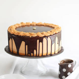 Chocolate-Butterfinger Overflow Cheesecake.