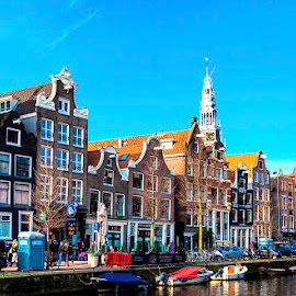 Amsterdam Street by Pravine Chester - City,  Street & Park  Neighborhoods ( places, city, street, amsterdam, buildings, homes )