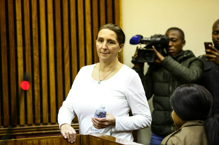 Vicki Momberg appears at the Randburg Magistrates Court in Johannesburg to apply for bail pending the appeal of her prison sentence for a racist rant that was caught on camera in 2016.