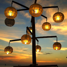 Lighting the sunset by Dan Baciu - Digital Art Things ( holiday, lights, coconat, bay, boracay, sunset, white, phillipines, beach, landscape, paradise, island )