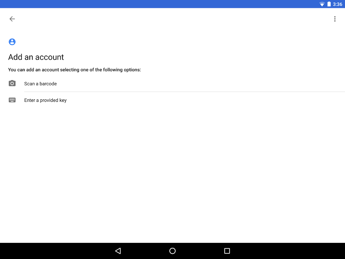 Google Authenticator – Capture d'écran