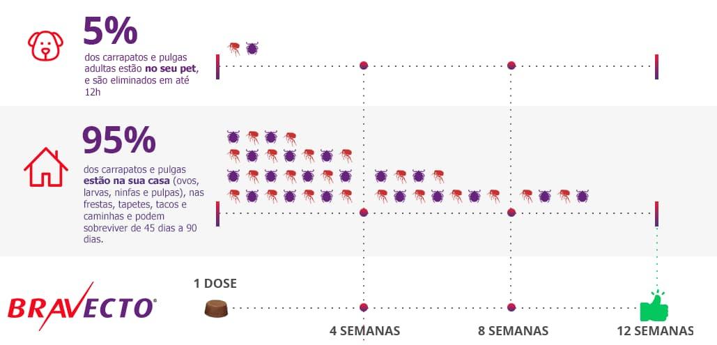 Tabela de eficácia do Antipulgas Bravecto