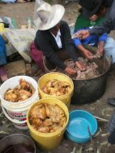 Photo: Three buckets of fried chicken.