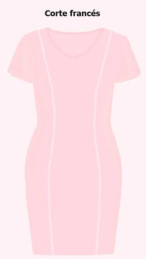 Diseño de vestido ajustado con corte francés y manga corta