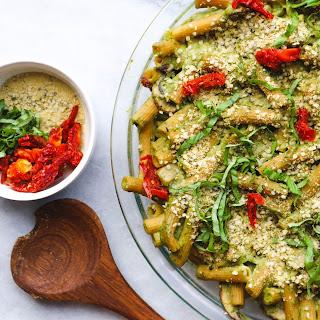 Creamy Pesto Pasta Bake with Sundried Tomatoes and Avocado (Gluten Free, Vegan) Recipe