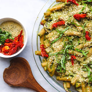 Creamy Pesto Pasta Bake with Sundried Tomatoes and Avocado (Gluten Free, Vegan).
