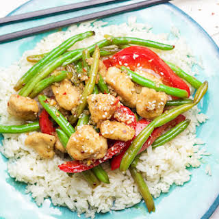 Coconut Sesame Chicken and Green Beans.