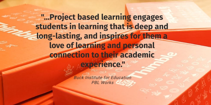 """Buck Institute for Education PBL Works quote, """"...Project-based learning engages students in learning that is deep and long-lasting and inspires for them a love of learning and personal connection to their academic experience."""""""