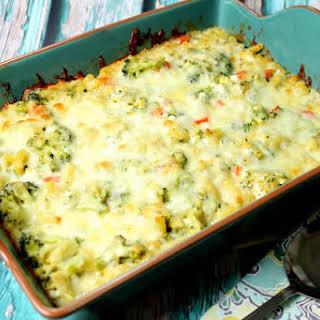 Baked Broccoli with Macaroni and Cheese.