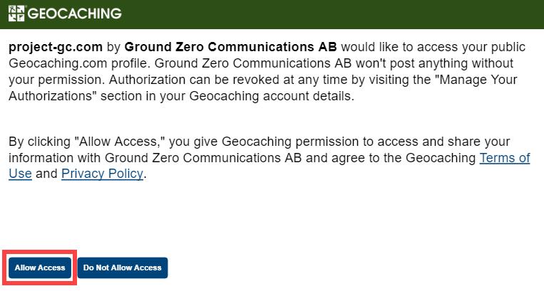 Screenshot: Allow Access