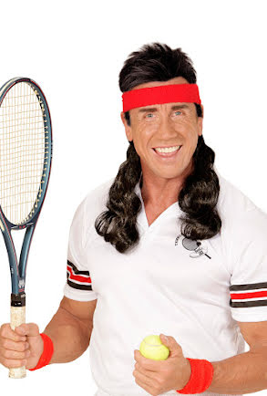 80-tals Pannband, röd med svart hår