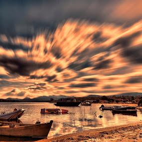 Beach by Maurizio Mameli - Landscapes Waterscapes ( cloud formations, clouds, sky, sardinia, boats, clouds and sea, cloudscape, landscape photography, sea, seascape, landscape, boat, italy )