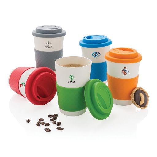 Bamboo Takeaway Cup White and 5 Coloured Grips