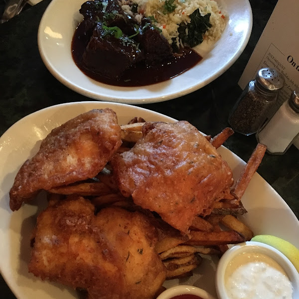 Fish and chips, and short ribs.