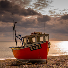 Fishing Boat at Beer Beach by Mike Hayter - Transportation Boats ( clouds, sunset, beach, fishing boat )