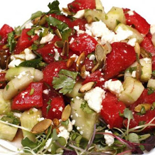 Spicy Grilled Watermelon and Cucumber Salad.
