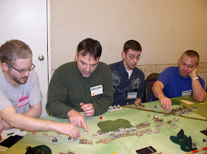 Photo: Pyramid Tourney in Pyramid Times - Cold Wars 2012 (from left to right) JM Seman - Ugaritic, Mark Pozniak - Sea Peoples, Alex Bostwick - Hittite Empire, Rich Gause - Middle Assyrian