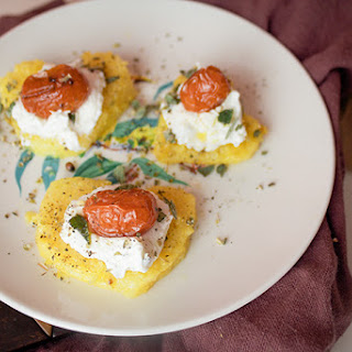 Heart Shaped Polenta Crostini with Roasted Tomatoes & Goat Cheese