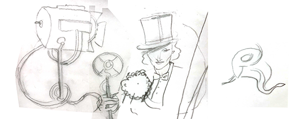 An early draft of Sasha Velour's Doodle for Marlene Dietrich.