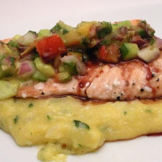 Salmon With Orange Salsa and Pomegranate Glaze