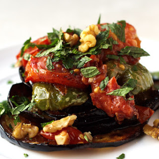 Fried Eggplant Recipe with Green Peppers and Tomato- Turkish Inspiration.
