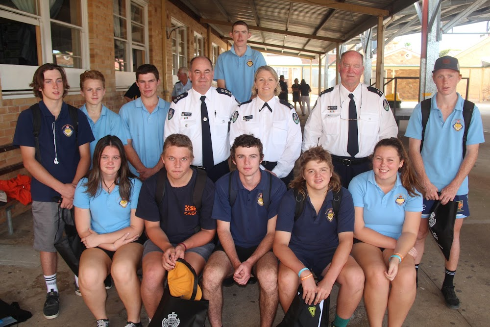 Back, Luke Scott, middle, Gus Knight, Thomas Bruce, James Scott, Namoi Gwydir team cadet coordinator Stephen Pritchard, district officer Mandy Brown and superintendent Michael Brooks, Tom Nolan, front, Georgie Milsom, Tyler Cowell, Kyle Suckling, Campbell Hancock and Ellie Suckling. Absent from photo are Klowie Rose and Michael McDougall.