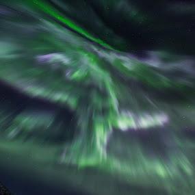 Aurora corona by Benny Høynes - Abstract Patterns ( light painting, winter, corona, colorful, northern lights, aurora borealis, norway )