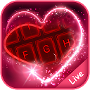 Live Neon Red Heart Keyboard Theme 6.12.22.2018