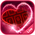Live Neon Red Heart Keyboard Theme APK