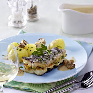 Roasted Tilapia with Potatoes and Mushroom Sauce.