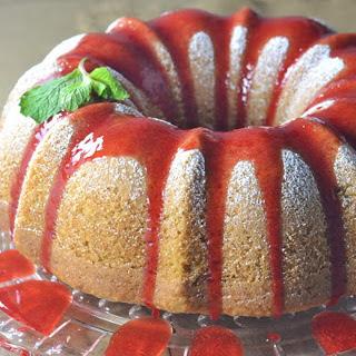 Lemon Coconut Bundt Cake With Strawberry Coulis [Vegan].