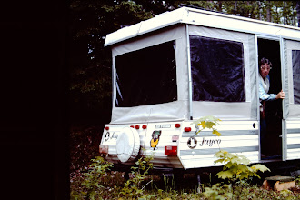 Photo: Camper set up half way in; end of the driveway.