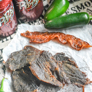 Dr Pepper Jalapeno Smoked Beef Jerky.