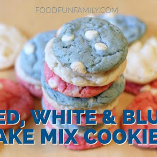 Red White and Blue Cake Mix Cookies - Easy 4th of July