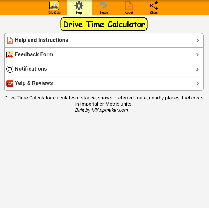Drive Time Calculator- screenshot