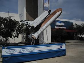 Photo: Shuttle model outside the Stennisphere