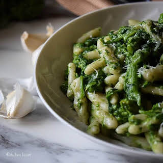 Homemade Italian Broccoli Rabe Cavatelli Pasta.