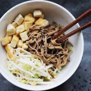 Make-Ahead Peanut Soba Noodles with Tofu and Pickled Bean Sprouts.