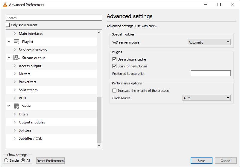 thumbapps.org VideoLAN - VLC portable, preferences advanced