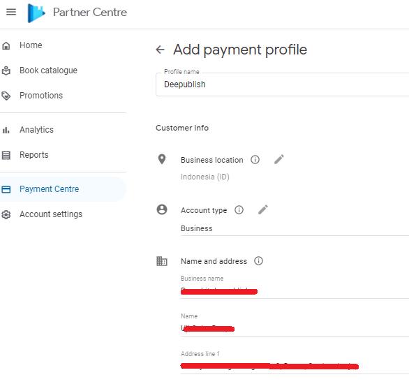 Submit profil pembayaran