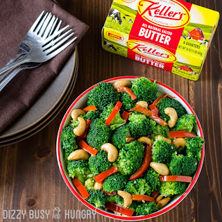 Broccoli with Red Pepper Garlic Butter Sauce.