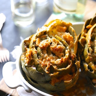 Baked Buffalo Chicken Stuffed Artichokes with Blue Cheese